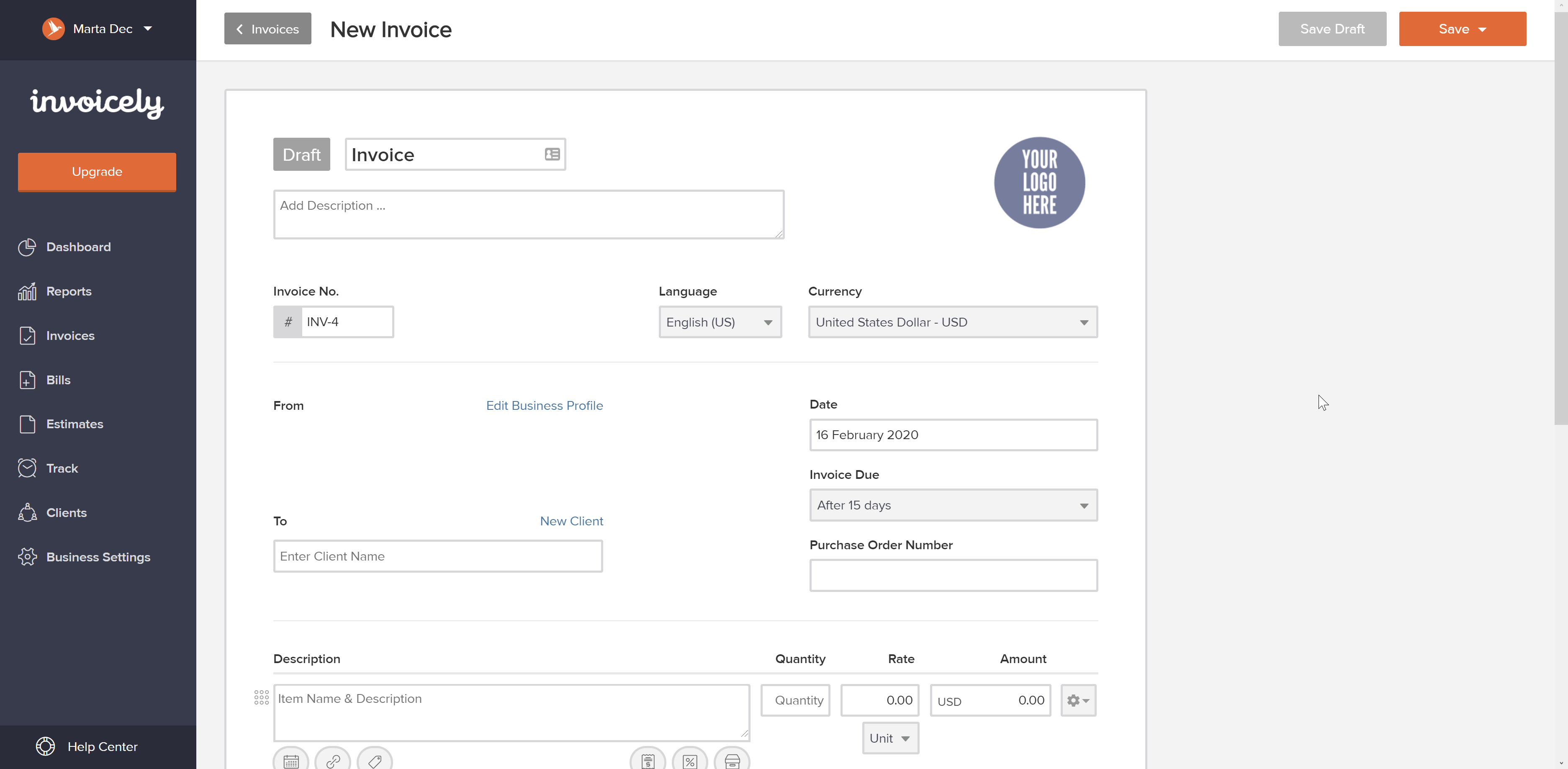 Screenshot of an invoicing website, Invoicely
